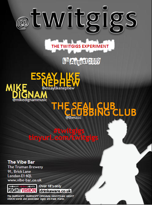 Flyer - The Twitgigs Experiment